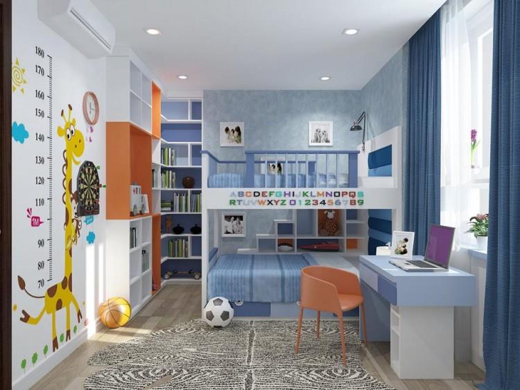 Màu lam nhạt tạo cảm giác khỏe khoắn trong phòng ngủ bé trai