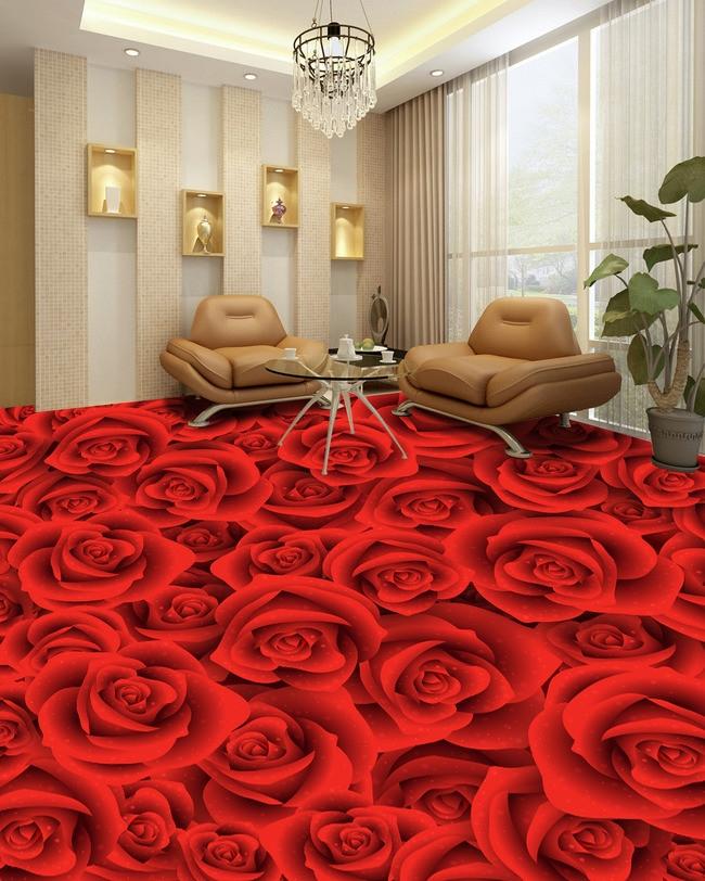 Sàn nhà 3D cho cô nàng yêu thích hoa hồng