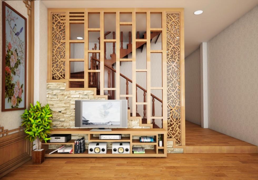 Vách ngăn gỗ  cầu thang với phòng khách được sử dụng rất nhiều