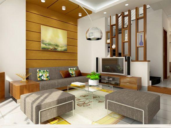Phòng khách có các chi tiết đơn giản tiết kiệm không gian