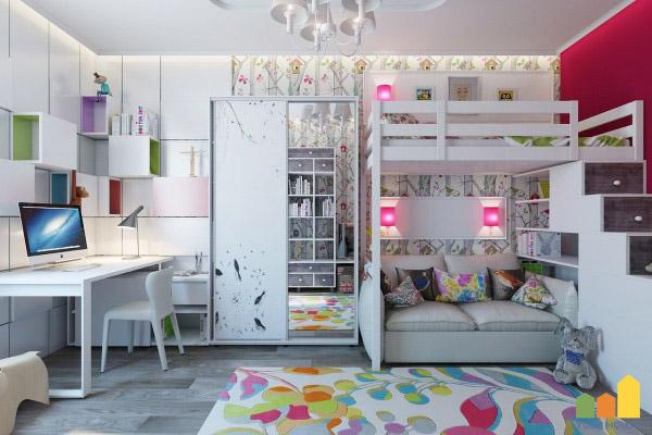Trong phòng trẻ em, nội thất phải được kết hợp hài hòa với màu sắc và ánh sáng