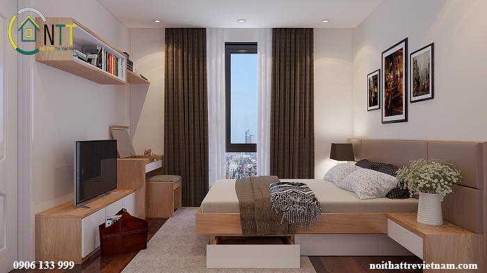 Bố trí nội thất phòng ngủ chung cư nhỏ số 1