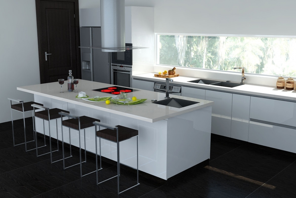 Tông trắng đen tạo sự đơn giản, tinh tế cho căn bếp