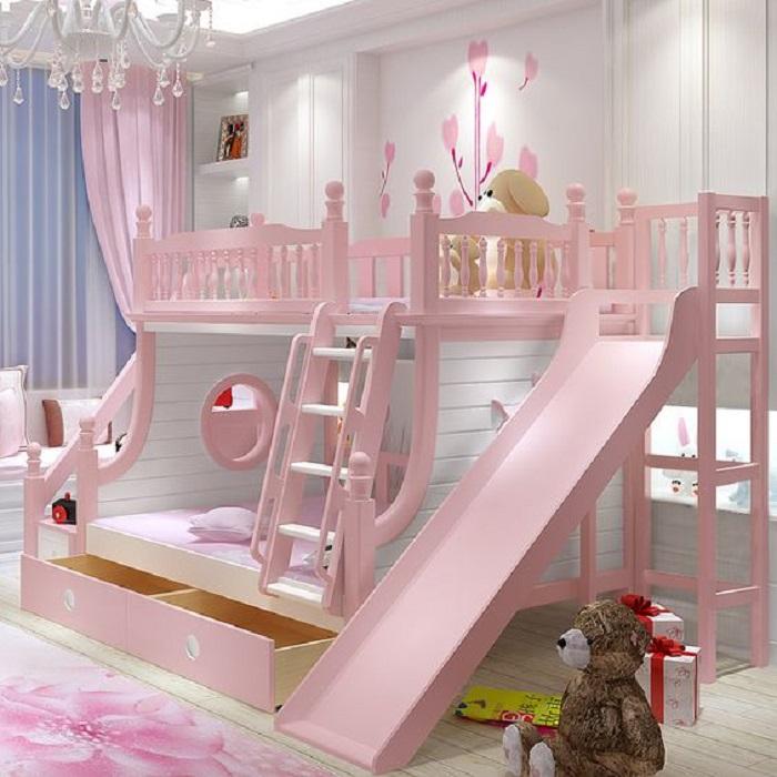 Thiết kế phòng chơi cho trẻ có cầu thang trượt