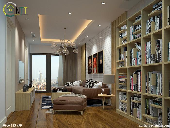 Phòng khách ưu tiên đặt một tủ sách lớn