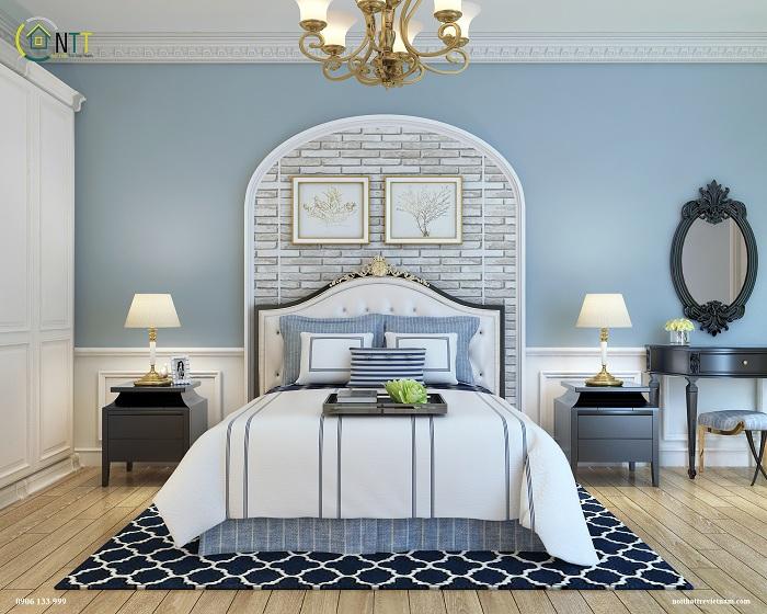 Phòng ngủ sang trọng nhưng vẫn tạo cảm giác gần gũi, thân thiện