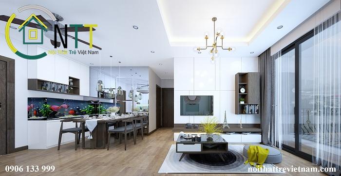 Căn hộ không gian mở hiện đại với phòng khách tận dụng góc view đẹp nhất