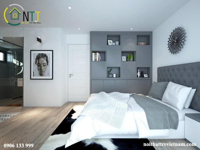 Nội thất phòng ngủ với sự kết hợp màu sắc nhẹ nhàng