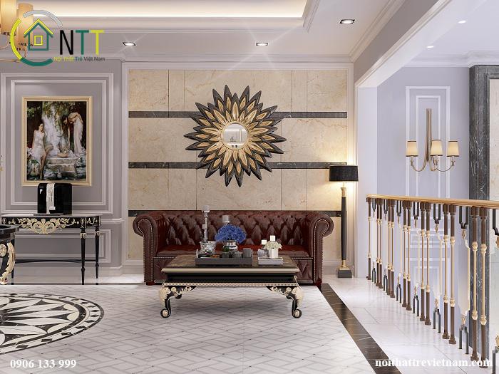 Một mẫu căn hộ cao cấp khác với nội thất gỗ tự nhiên, ghế sofa da sofikin