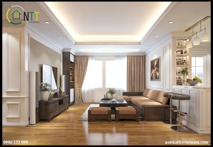 Sự kết hợp màu sắc quyết định rất lớn đến không gian phòng khách căn hộ của bạn có sang trọng hay không