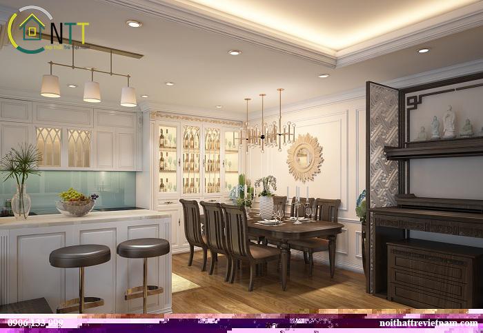 Khu vực phòng ăn và bếp có thiết kế tủ rượu rất sang và tiện