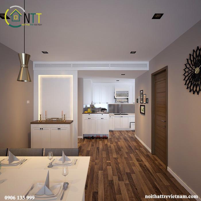 Tủ bếp gỗ sồi sơn trắng bằng sơn Inchem