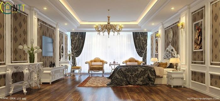 Phòng ngủ tiện nghi và vương giả với nội thất cao cấp