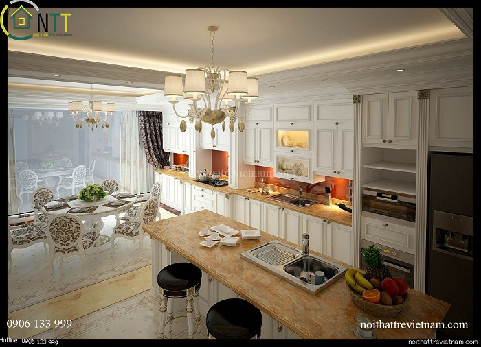 Không gian bếp đẹp ngây ngất với nội thất gỗ tự nhiên