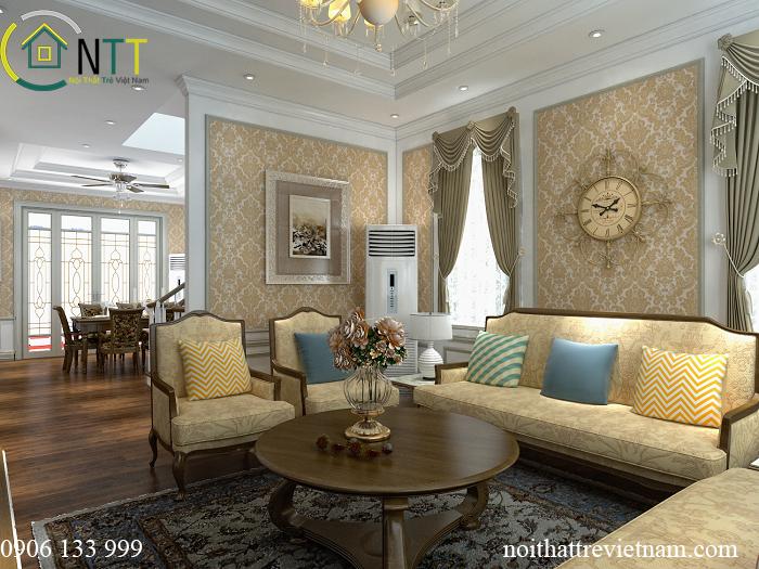 Nội thất phòng khách tân cổ điển với màu vàng chủ đạo
