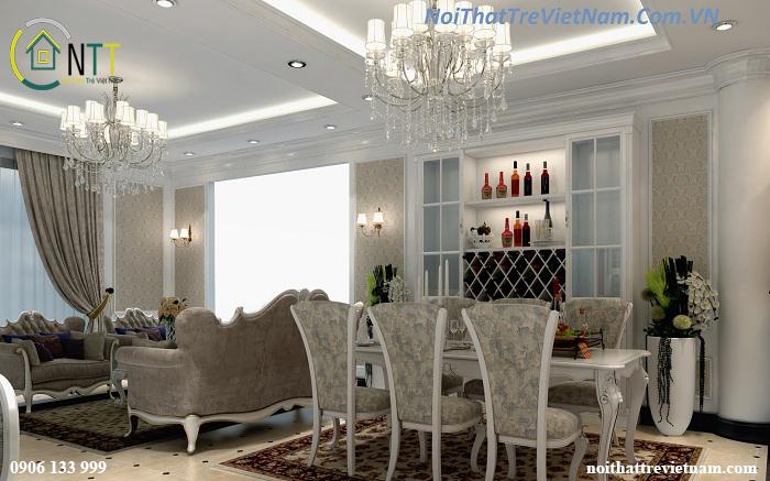 Phòng khách và phòng ăn không gian mở, có thiết kế tủ rượu với nhiều ô để rượu vang