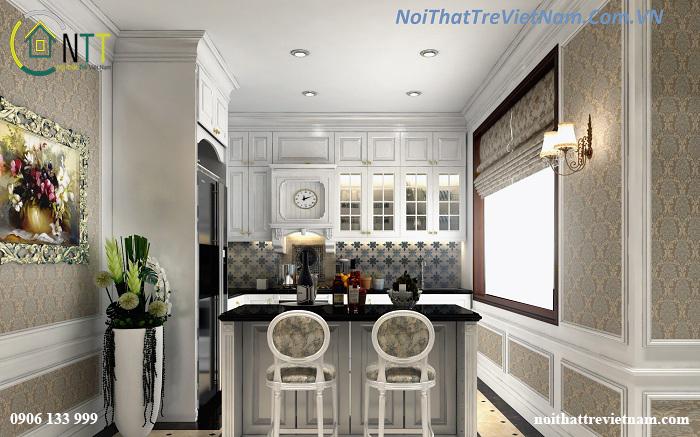 Phòng bếp có thiết kế quầy bar mini