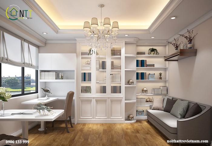 Phòng thư viện trong thiết kế nội thất căn hộ chung cư cao cấp