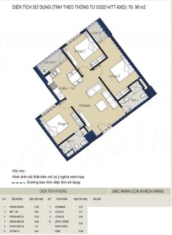 Mặt bằng thiết kế nội thất căn hộ chung cư 80m2 3 phòng ngủ