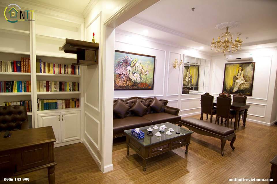 Toàn bộ nội thất chung cư Times City này sử dụng gỗ sồi tự nhiên - Loại sồi Mỹ nhập khẩu được tẩm sấy tại nước ngoài