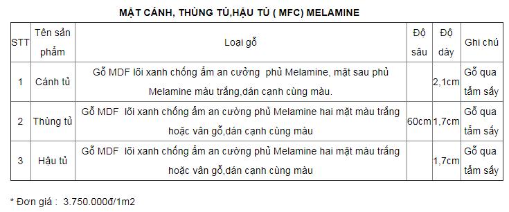 giá thi công tủ áo MDF phủ melamine