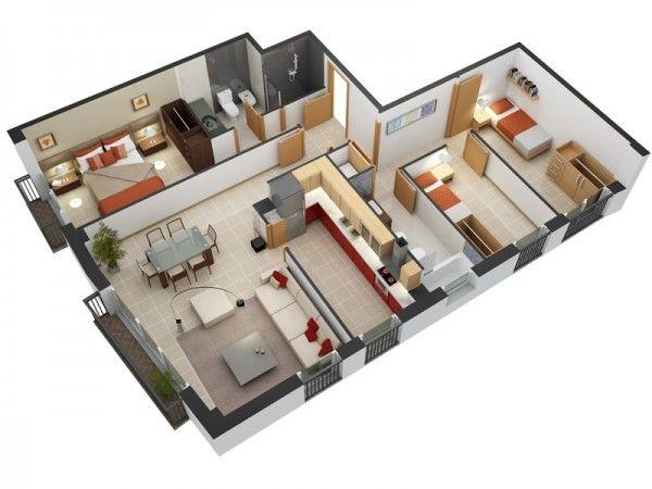 Mẫu thứ 1: Thiết kế bố trí căn hộ 80m2 3 phòng ngủ
