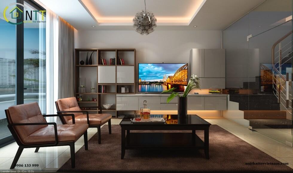 Một mẫu phòng khách trong thiết kế nội thất nhà phố