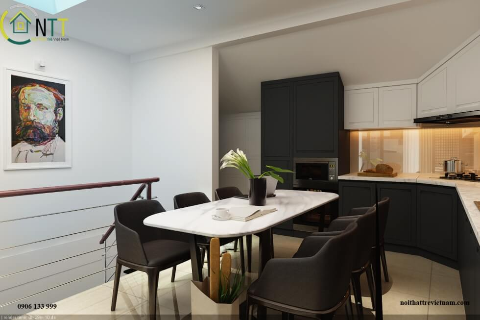 Phòng bếp và phòng ăn trong nhà phố