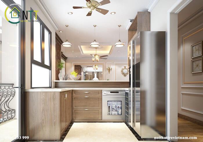 Phòng bếp chung cư Ancora phong cách tân cổ điển