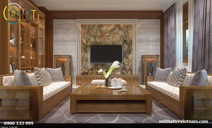 Nội thất gỗ sồi, đệm bọc nỉ sofikin, màu sắc hợp mệnh gia chủ