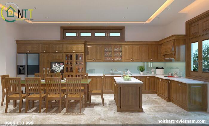 Một góc view khác của phòng bếp và phòng ăn