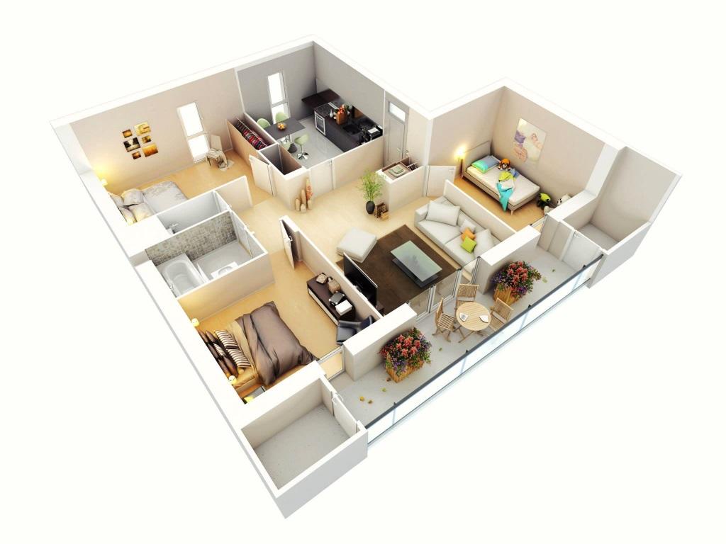 Mẫu bố trí căn hộ 80m2 thứ 4