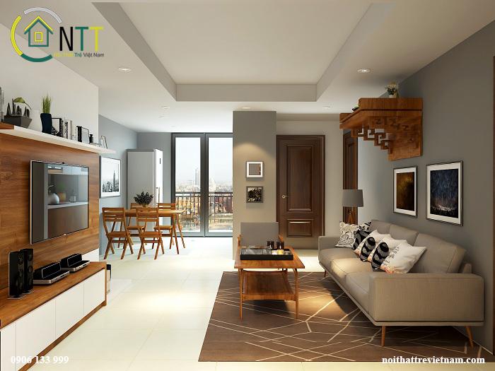 thiết kế căn hộ hình chữ nhật