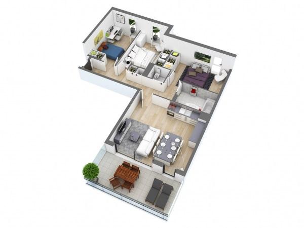 Mẫu thứ 5 căn hộ này được phân chia thành 2 khu vực công năng riêng biệt: Khu vực dành cho sinh hoạt chung của gia đình, và khu vực bố trí phòng ngủ