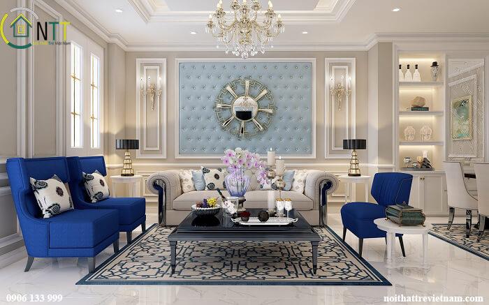 Phòng khách trong mẫu thiết kế nội thất biệt thự
