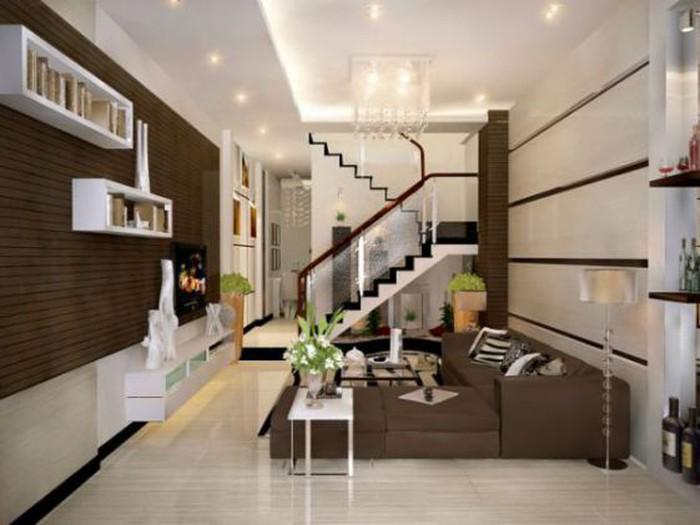 15 mẫu phòng khách nhà ống 4m có cầu thang đẹp lung linh