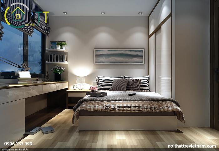 mẫu thiết kế nội thất phòng ngủ với gam màu nhẹ nhàng giúp ngủ ngon