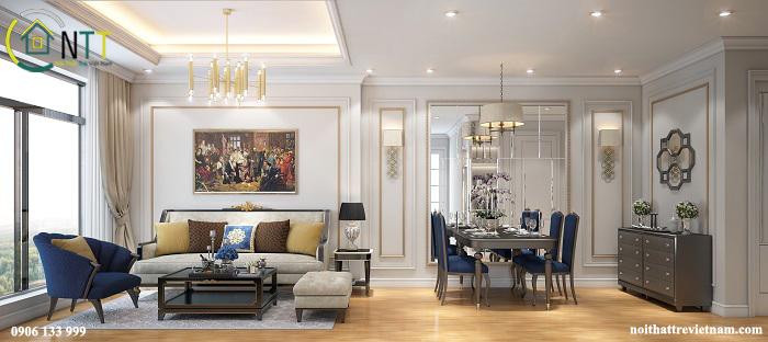 Mẫu thiết kế nội thất chung cư tân cổ điển – căn hộ mẫu