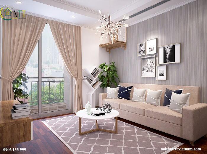 Công trình thi công nội thất phòng khách chung cư hiện đại