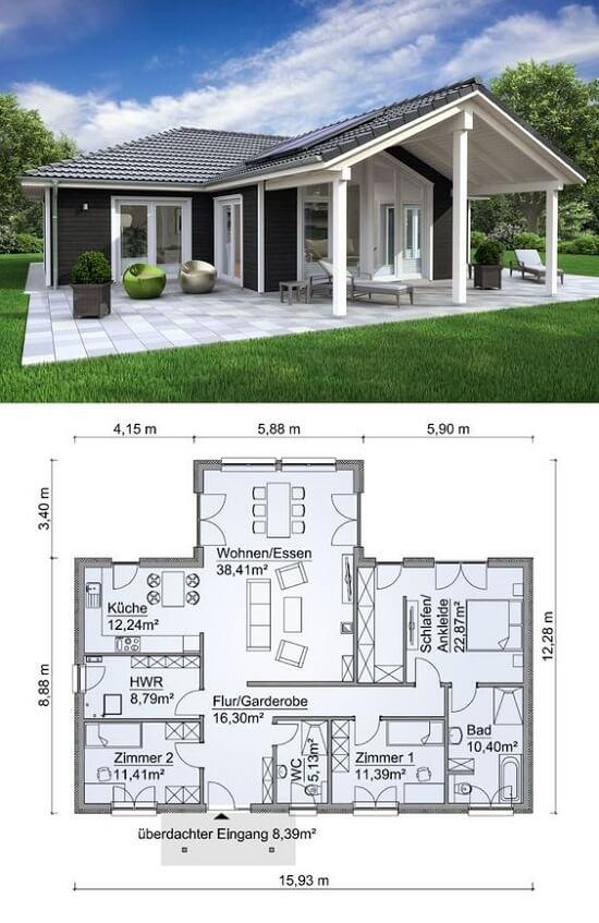 Mẫu nhà 1 tầng đẹp 12x16