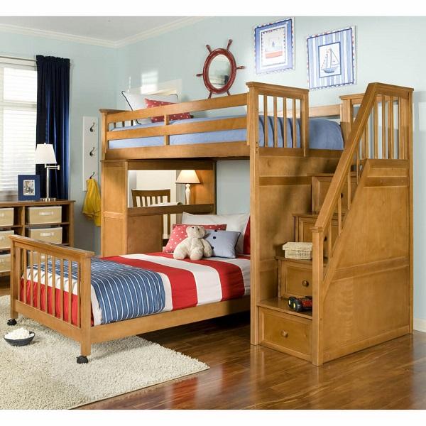 Mẫu 11 - Mẫu giường tầng gỗ tự nhiên, màu gỗ đẹp, sang trọng và ấm áp