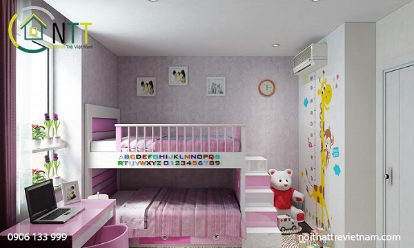Mẫu 11 - Giường tầng cho bé gái