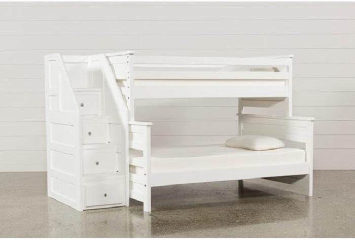 Mẫu 17 - Giường 2 tầng cho người lớn màu trắng, cầu thang làm ngăn tủ