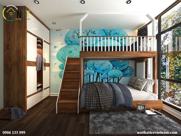 Mẫu 14 - Giường tầng cho bé trai và gái