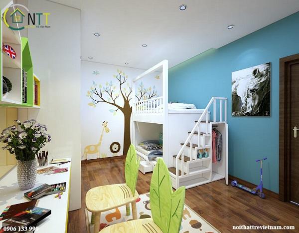 Mẫu 12 - Giường tầng cho bé trai và gái