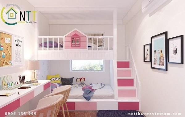 Mẫu 2: Giường tầng trẻ em với gam màu tươi sáng