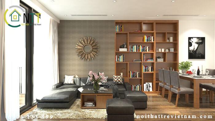 lựa chọn kệ sách trang trí phòng khách đẹp