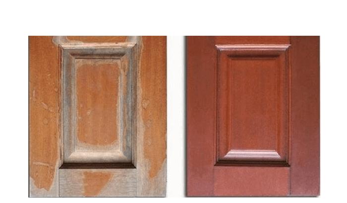 Ảnh chụp cùng 1 chất liệu gỗ sử dụng 2 loại sơn khác nhau sau 5 năm, bên trái là sơn thường, bên phải là sơn Inchem