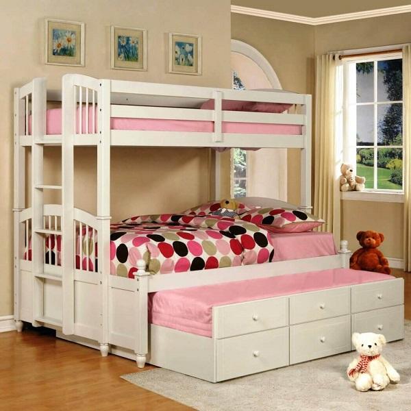 Mẫu 33 - Giường tầng kiểu hình thang thiết kế thêm ngăn dưới gầm có thể tận dụng làm giường 3 tầng