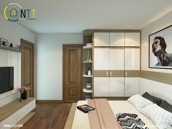 Căn phòng sử dụng màu sắc nhẹ nhàng, để tạo điểm nhấn bạn có thể sử dụng một vài bức tranh treo tường